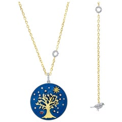Amy Y Diamond, Ruby, Enamel and 18K Gold Pendant Necklace Tree of Life 'Amelia'