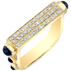 Amy Y Inlay Diamond, Cabochon Sapphire and 18 Karat Gold 'Architect Ring'