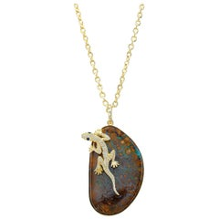 Amy Y Opal, Diamond and Sapphire Contemporany Gecko Pendant Necklace 'Rex'