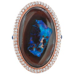 Amy Y's Australian Yowah Opal, Diamond and 18K Gold, Contemporary Ring 'Sarah'