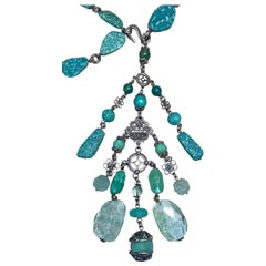 Stephen Dweck Amzaonite, Chrysoprase, Turquoise, and Fluorite Necklace
