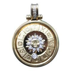 18 Carat Gold and Diamond Mechanical Zodiac Pendant