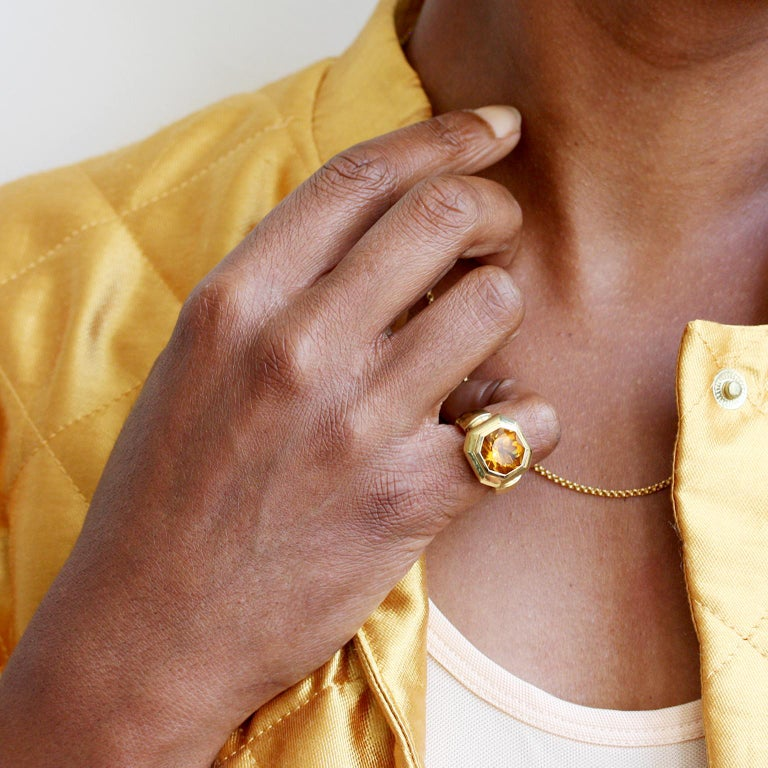 18 Carat Gold Leo de Vroomen Ring with Citrine For Sale 1