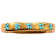 18 Carat Gold Turquoise and Diamond Bangle
