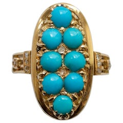 18 Carat Gold Turquoise and Diamond Victorian Ring