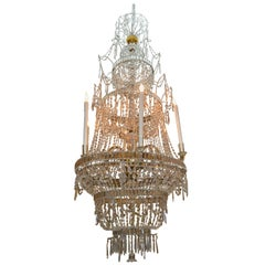 18th Century Crystal Chandelier from the Royal Crystal Manufacturer La Granja