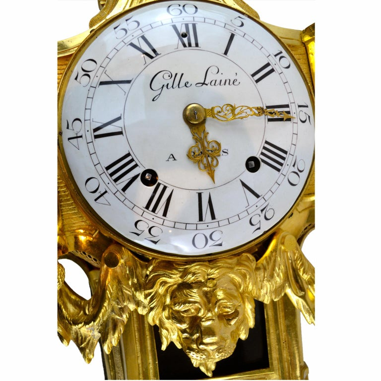 18th Century French Louis XVI Gilt Bronze Cartel Wall Clock For Sale 1