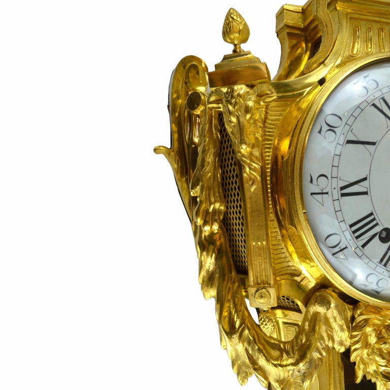 18th Century French Louis XVI Gilt Bronze Cartel Wall Clock For Sale 2