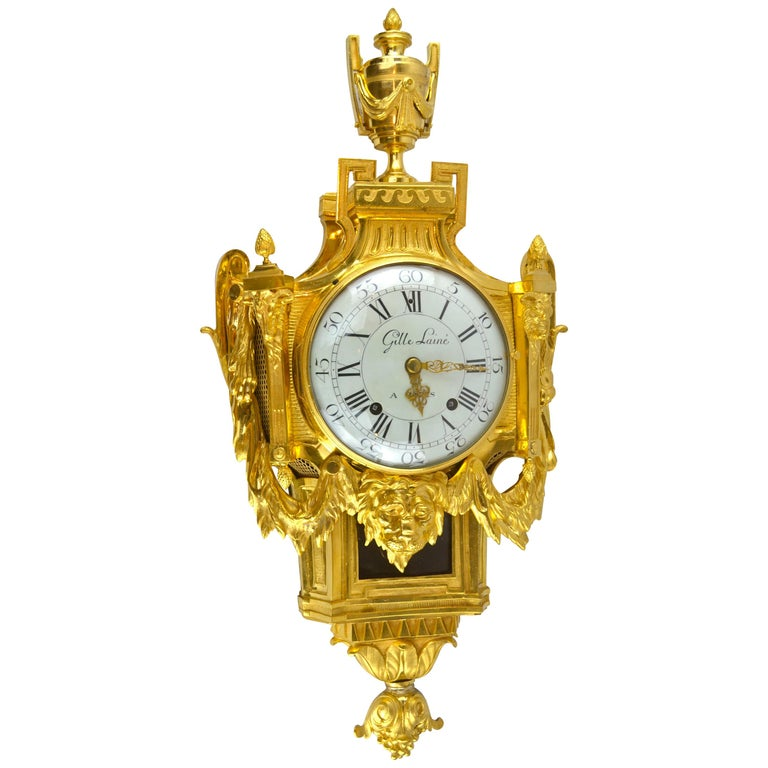 18th Century French Louis XVI Gilt Bronze Cartel Wall Clock For Sale