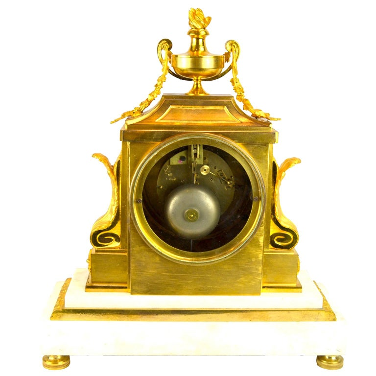18th Century French Louis XVI White Marble and Gilt Bronze Architectural Clock For Sale 1