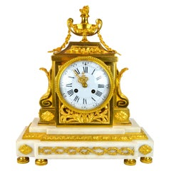 18th Century French Louis XVI White Marble and Gilt Bronze Architectural Clock