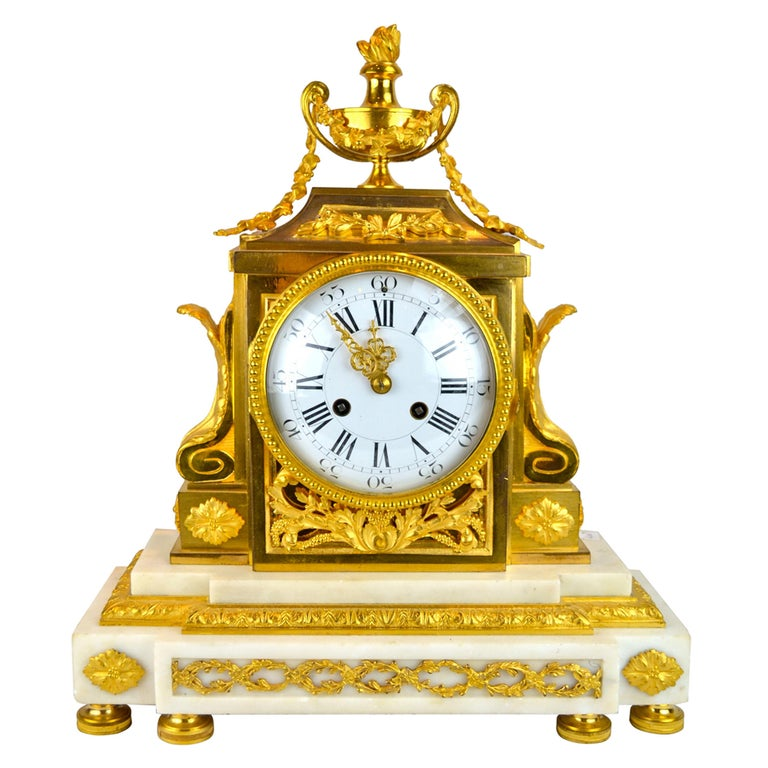 18th Century French Louis XVI White Marble and Gilt Bronze Architectural Clock For Sale