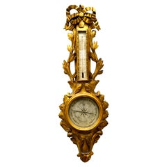 18th Century Louis XVI Giltwood Wall Barometer