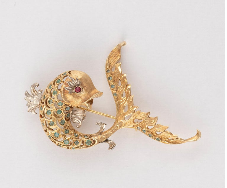 Retro 18 Carat Gold Emerald and Ruby Dolphin Brooch For Sale