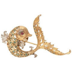 18 Carat Gold Emerald and Ruby Dolphin Brooch