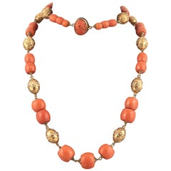 18k Gold and Corallium Rubrum Necklace