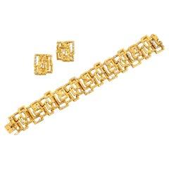 18k Gold & Diamond Bracelet and Earrings