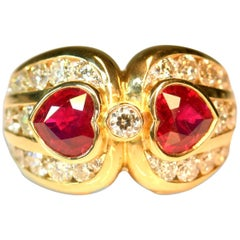 18 Karat Two Hearts Burma Pigeon Blood Ruby and Diamond Ring