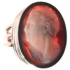 18th-19th Century Sardonyx Cameo of Roman Old Man Ring