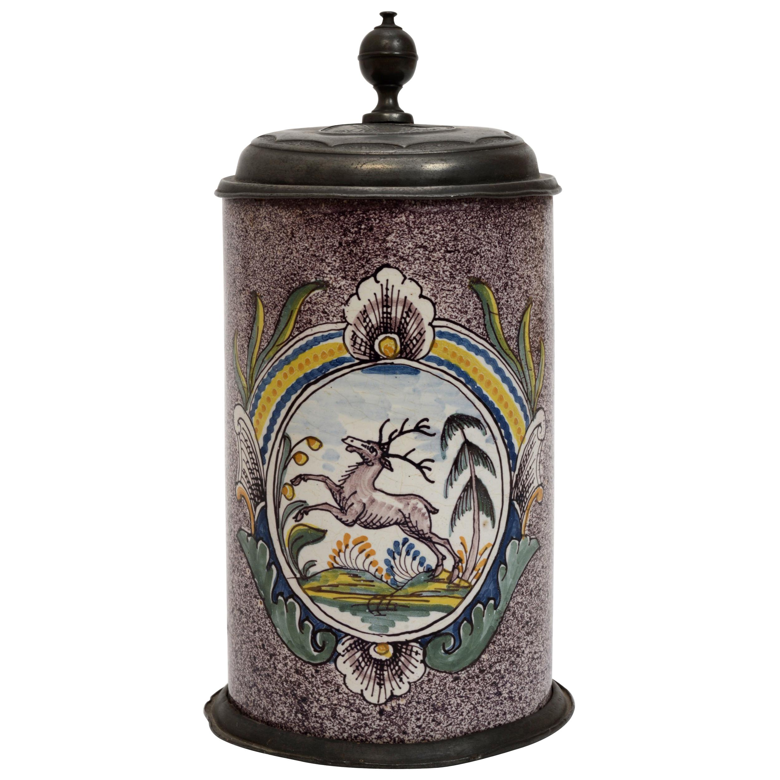 18th Century German Berlin Factory Pewter Mounted Spatterware Faience Stein