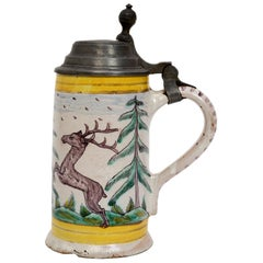 18th Century German Pewter Mounted Faience Stein, circa 1780