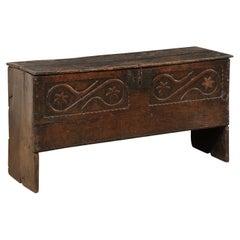 18th C. Italian Carved-Wood Cassone W/It's Original Iron Hardware