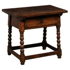 18th C. Italian Occasional Table w/Drawer Raised on Ball Turned & Carved Legs