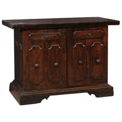 "An 18th C. Italian Walnut 2-Door Cabinet w/Nice 2.25"" Thick Top & Paneled Doors"