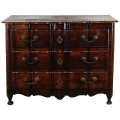 An 18th Century Continental Walnut Serpentine Commode Chest of Drawers
