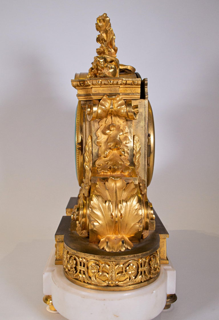 18th Century Carrara Marble and Dore Bronze Mantle Clock, F. Berthoud For Sale 7