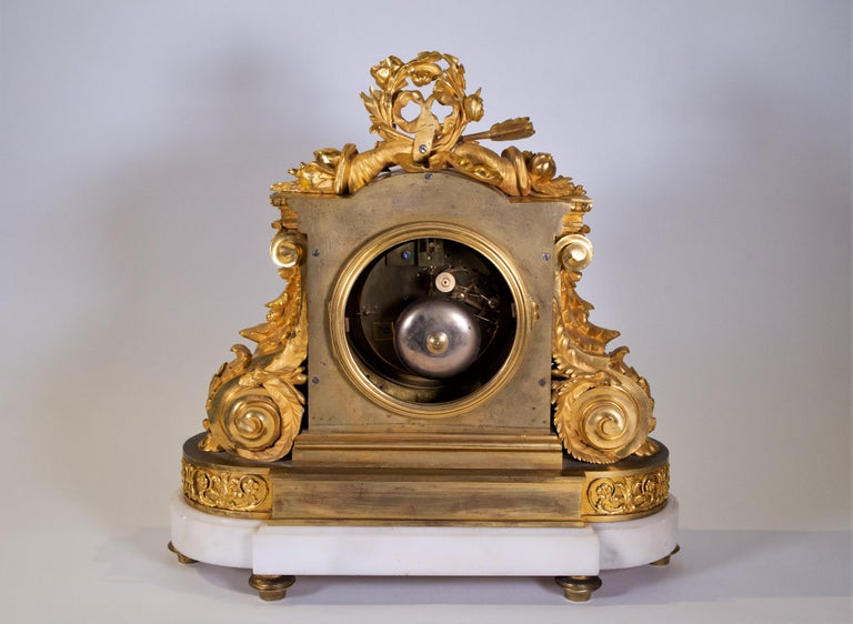 18th Century Carrara Marble and Dore Bronze Mantle Clock, F. Berthoud For Sale 8