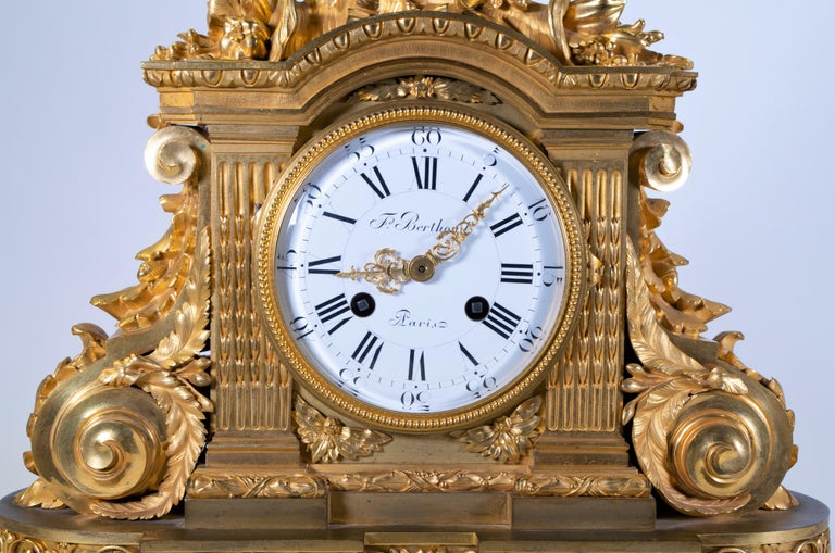 A fabulous and quite important 18th century Louis XVI period Carrara marble and dore bronze mantle clock, signed F. Berthoud, Paris. The body of the clock is exceptionally cast and further hand-chiseled, chased, matted, and burnished in two-tone