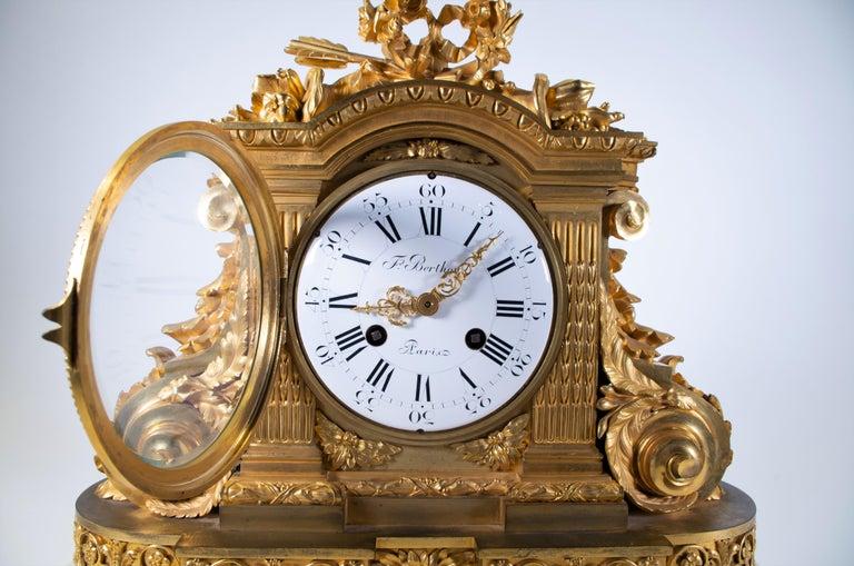 Louis XVI 18th Century Carrara Marble and Dore Bronze Mantle Clock, F. Berthoud For Sale