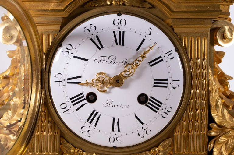 French 18th Century Carrara Marble and Dore Bronze Mantle Clock, F. Berthoud For Sale