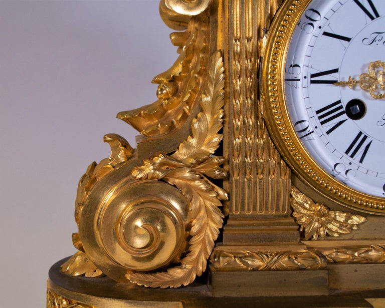 Hand-Carved 18th Century Carrara Marble and Dore Bronze Mantle Clock, F. Berthoud For Sale