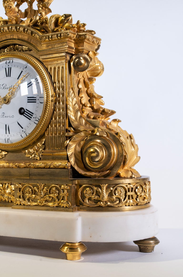 18th Century Carrara Marble and Dore Bronze Mantle Clock, F. Berthoud In Good Condition For Sale In New York, NY