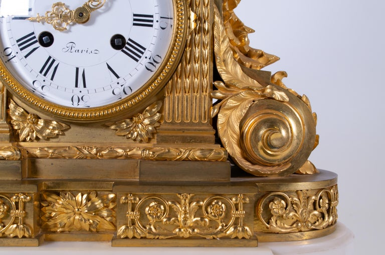 Late 18th Century 18th Century Carrara Marble and Dore Bronze Mantle Clock, F. Berthoud For Sale