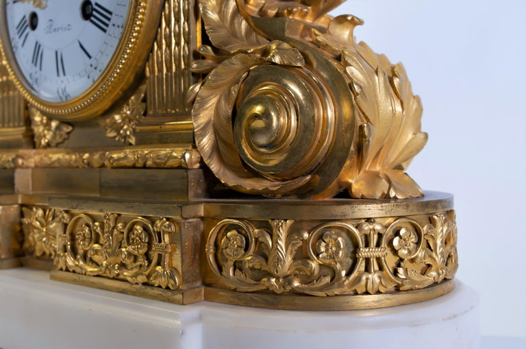 18th Century Carrara Marble and Dore Bronze Mantle Clock, F. Berthoud For Sale 1