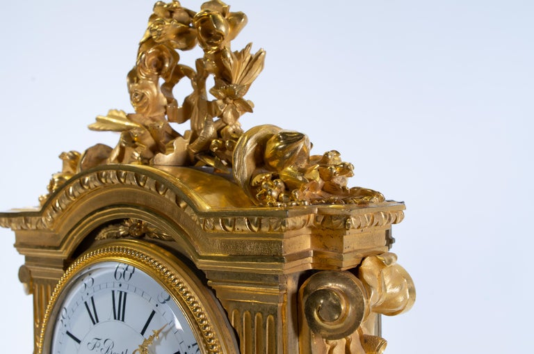 18th Century Carrara Marble and Dore Bronze Mantle Clock, F. Berthoud For Sale 2