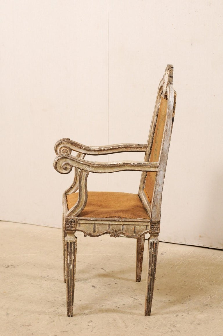 18th Century Carved-Wood & Upholstered Armchair from Italy For Sale 5