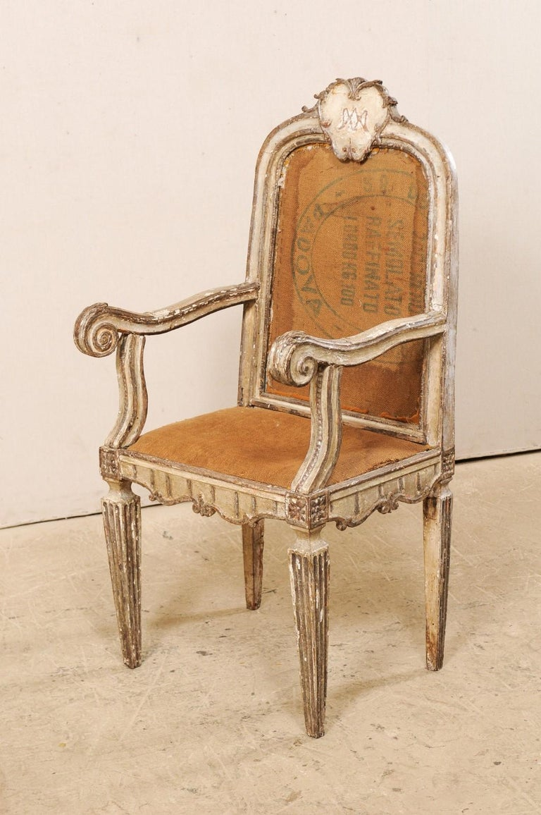 18th Century Carved-Wood & Upholstered Armchair from Italy For Sale 6