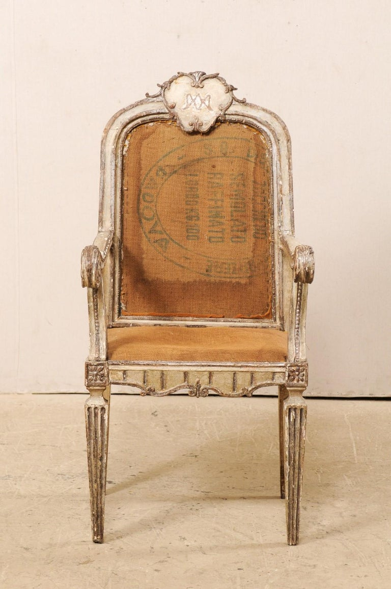 Italian 18th Century Carved-Wood & Upholstered Armchair from Italy For Sale