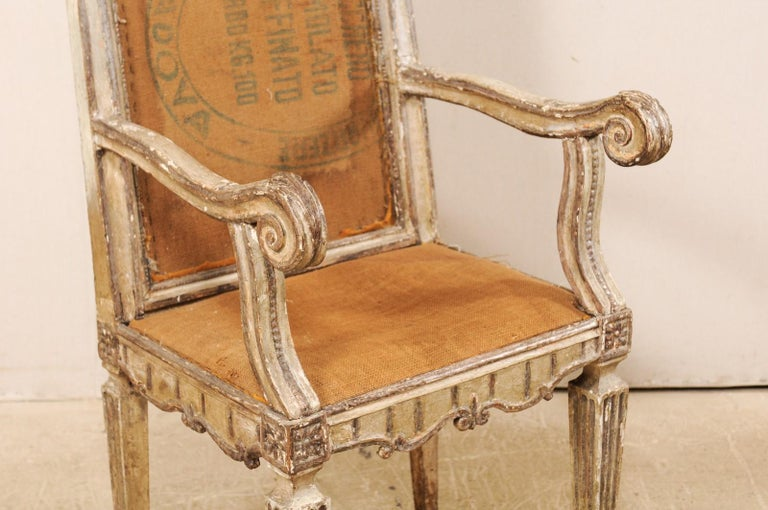 18th Century and Earlier 18th Century Carved-Wood & Upholstered Armchair from Italy For Sale