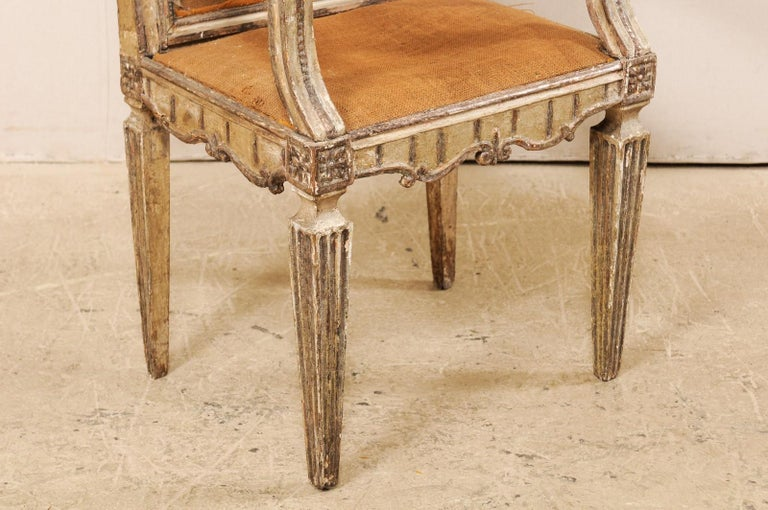 18th Century Carved-Wood & Upholstered Armchair from Italy For Sale 1