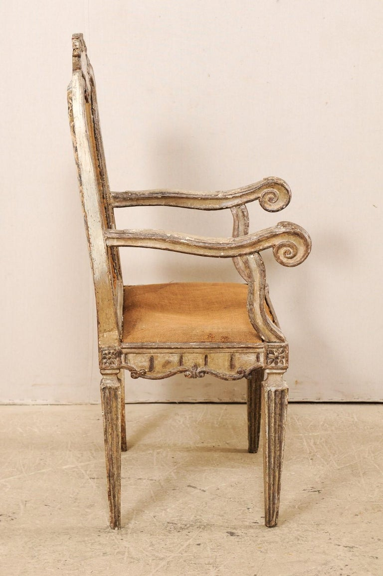 18th Century Carved-Wood & Upholstered Armchair from Italy For Sale 2