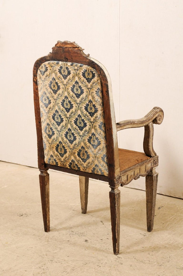 18th Century Carved-Wood & Upholstered Armchair from Italy For Sale 3