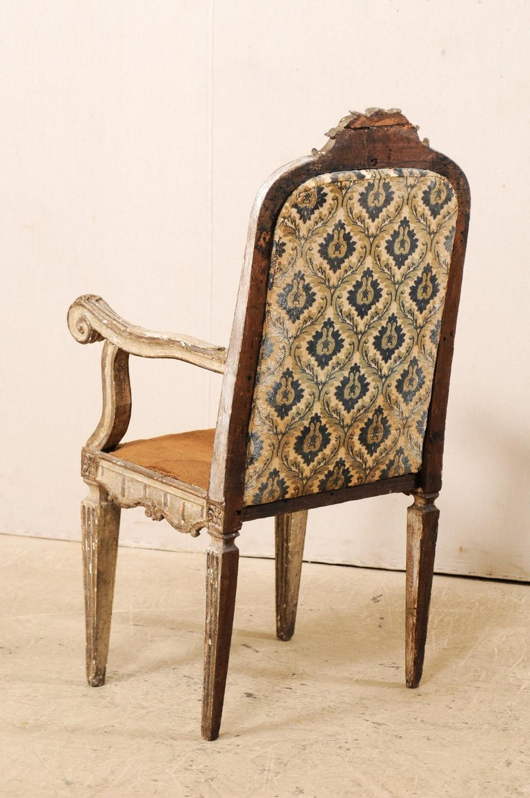 18th Century Carved-Wood & Upholstered Armchair from Italy For Sale 4