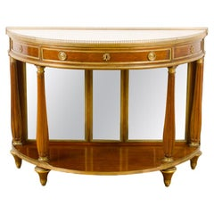 18th Century French Demilune Mahogany Server with Marble Top