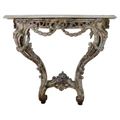 18th Century French Marble-Top Original Painted Console Table
