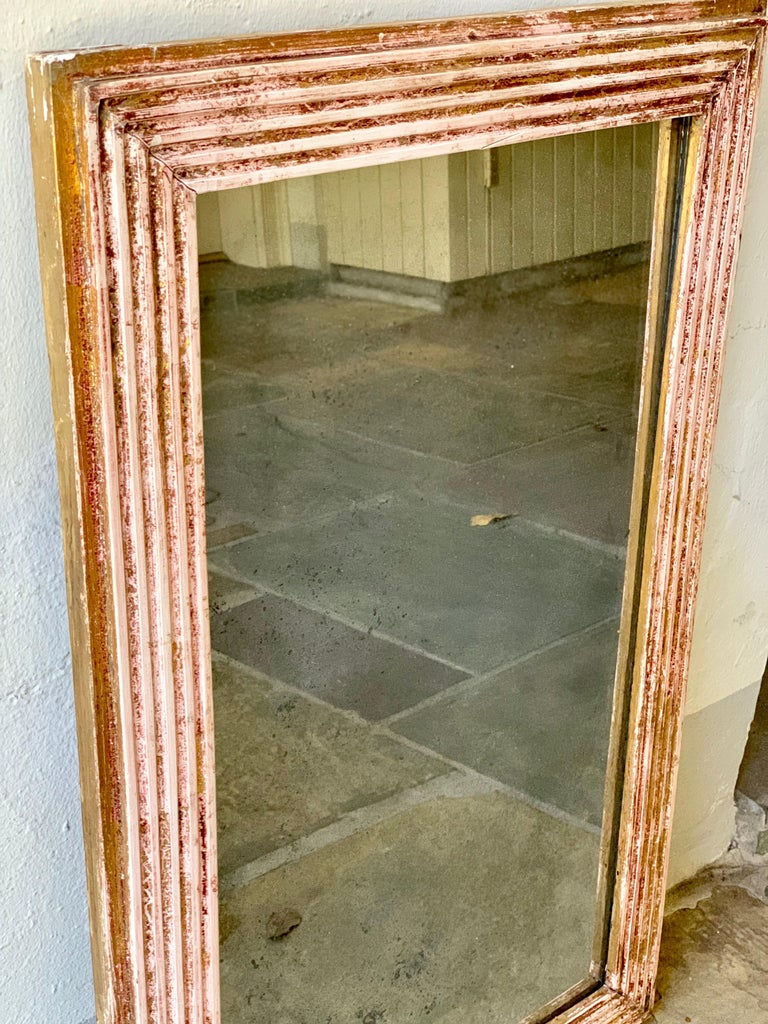 18th Century French Mercury Glass Mirror with Original Gilding For Sale 1